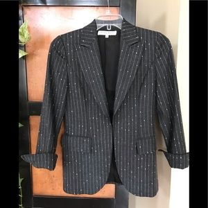 Carolina Herrera 4 Gray Striped Wool Blazer Italy